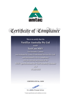 VerifEye Australia Pty Ltd Model TaxiCam MKV 2014(pdf 396KB)