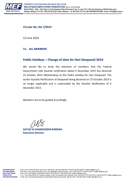 MEF Circular No: AG 7/2014 - Public Holidays – Change of date for