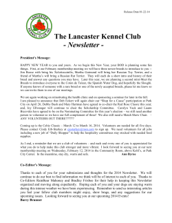 The Lancaster Kennel Club - Newsletter -