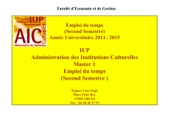 Second Semestre - Administration des Institutions Culturelles