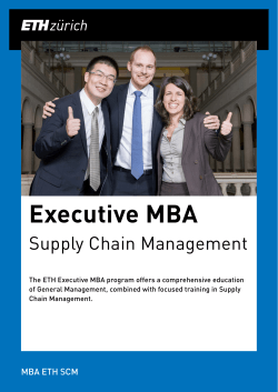 Executive MBA - MBA, Supply Chain Management, SCM, ETH Zurich