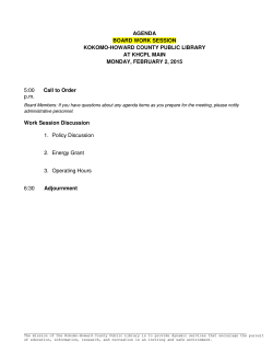 Board Meeting Agenda - Kokomo-Howard County Public Library