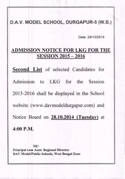 Second List of selected Candidates for Admission to LKG for the