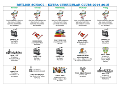 RUTLISH SCHOOL – EXTRA CURRICULAR CLUBS 2014-2015