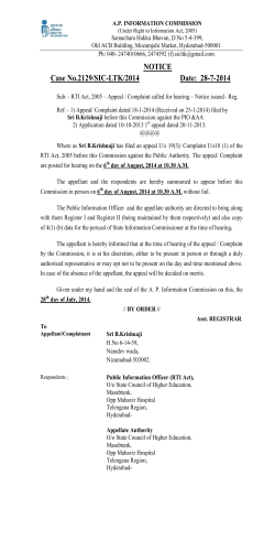 NOTICE Case No.2129/SIC-LTK/2014 Date: 28-7-2014