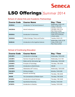 LSO Offerings Summer 2014