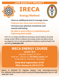 IRECA ENERGY COURSE - Life Quality Project