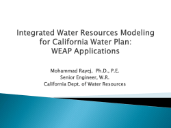 WEAP Applications - California Water and Environmental Modeling