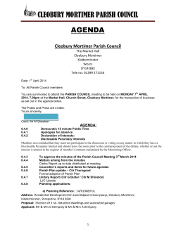 04-2014 Agenda - Cleobury Mortimer Parish Council