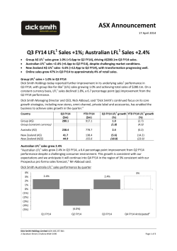 ASX Announcement Q3 FY14 Sales 17.04.14