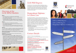 Contact Details Overview of the LLM/MPhil Modules LLD/PhD