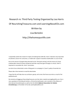 Research re: Third Party Testing Organized by Lea Harris Of