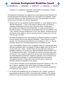 DD Council Synopsis of LDE interpretation of Act 833