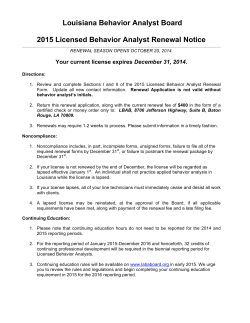 2015 LBA Renewal - Louisiana Behavior Analyst Board