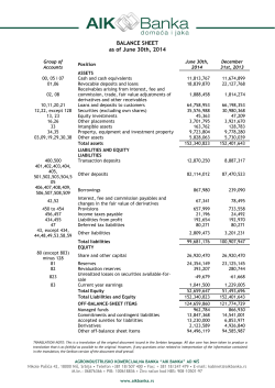 BALANCE SHEET as of June 30th, 2014