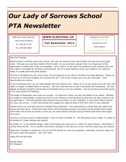 OLS PTA Fall Newsletter - Our Lady of Sorrows School