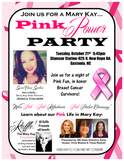 Join us for a Mary Kay… Wear Pink – Pink Refreshments – Pink