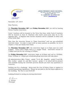 JOHN RENNIE HIGH SCHOOL November 12th, 2014 Dear Parents