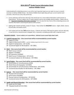 2014-2015 8th Grade Course Information Sheet Holman