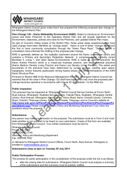 Public Notice Plan Change 120 - Kamo Walkability Environment