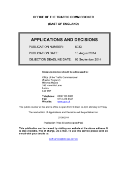 Applications and decisions 13 August 2014