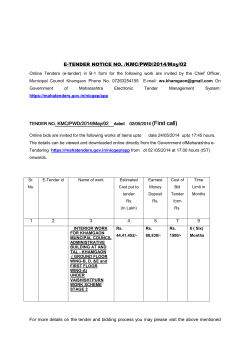 E-TENDER NOTICE NO. /KMC/PWD/2014/May/02 . KMC/PWD/2014