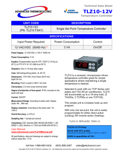 TLZ10 Single Set Point Temperature Controller Data Sheet from