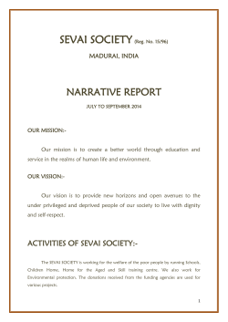 Narrative Report - July to September 2014