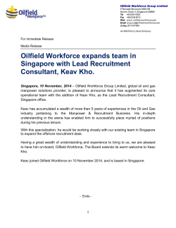 Oilfield Workforce expands team in Singapore with Lead