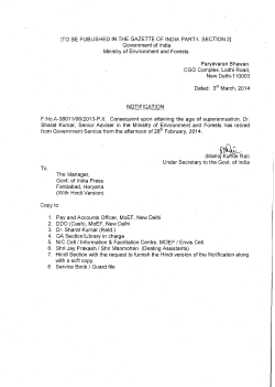 Read Notification - Ministry of Environment and Forests