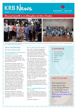 Download KRB News Issue 10 (8 August 2014). - Kincoppal-Rose
