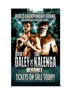 News Release: Denton Daley vs. Youri Kalenga