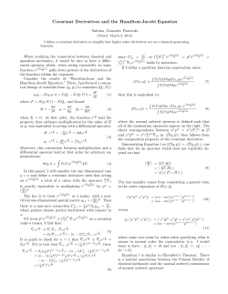 Covariant Derivatives and the Hamilton-Jacobi Equation