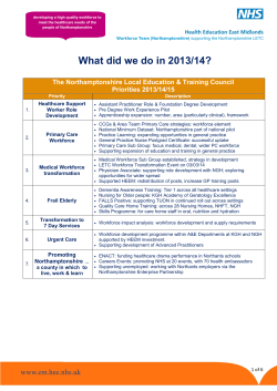 What did we do in 2013/14? - Health Education East Midlands