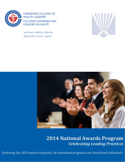 2014 National Awards Program - Canadian College of Health Leaders