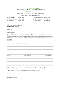 Churton Park Medical Care Transfer of notes request Form