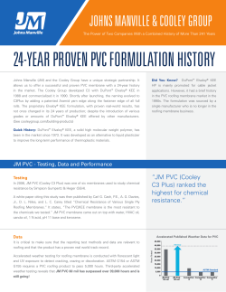 24-YEAR PROVEN PVC FORMULATION HISTORY