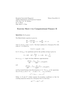 Exercise Sheet 4 in Computational Finance II