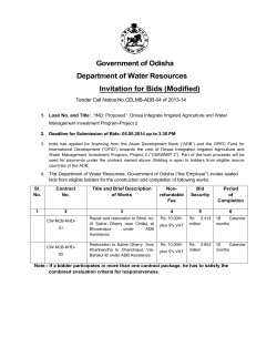 Government of Odisha Department of Water Resources Invitation for