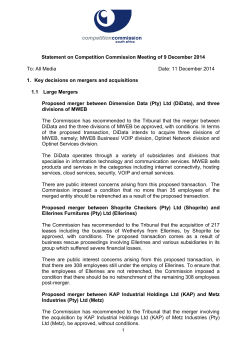 Statement on Competition Commission Meeting of 9 December 2014