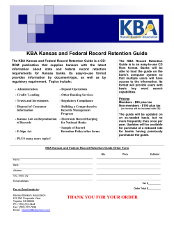 KBA Kansas and Federal Record Retention Guide