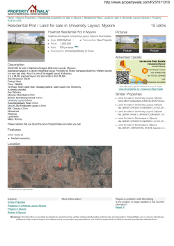 Residential Plot / Land for sale in University Layout, Mysore