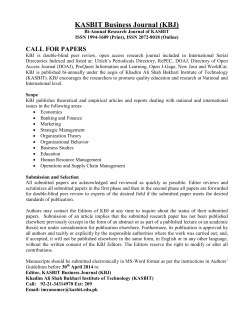 KBJ Call for Paper - KASB Institute of Technology