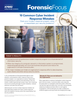 10 Common Cyber Incident Response Mistakes