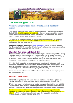 CRA news August 2014 - CraigPark Residents Association