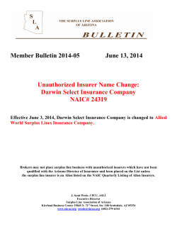 Member Bulletin 2014-05 Darwin Select Ins. Co. name change