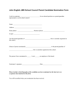John English JMS School Council Parent Candidate Nomination Form