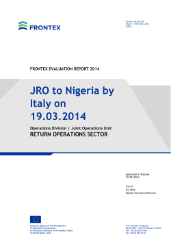 JRO to Nigeria by Italy on 19.03.2014 - Frontex