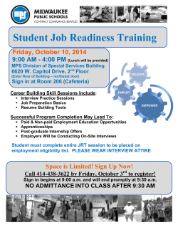 Student Job Readiness Training Friday, October 10, 2014 9:00 AM