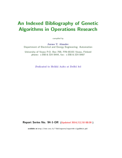 An Indexed Bibliography of Genetic Algorithms in Operations